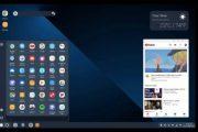 Ранний вариант десктопного режима Android Q со сторонним лаунчером